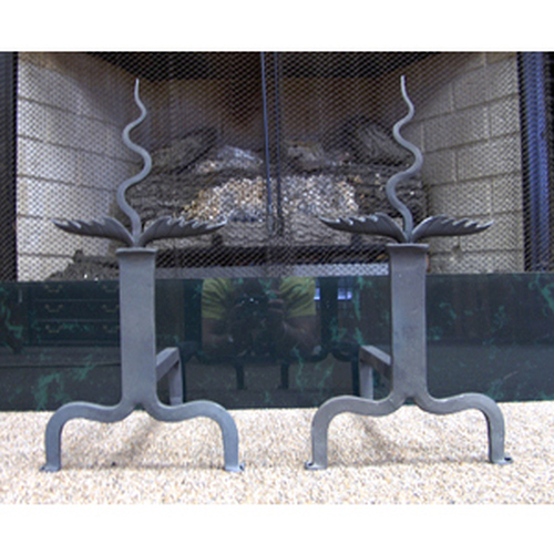 Eternal Flame Black Antique Andirons
