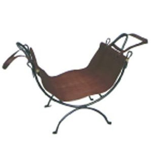 Wrought Iron Wood Holder With Leather Carrier 21 1/2'' high X 20 1/2'' long X 13 1/2'' wide