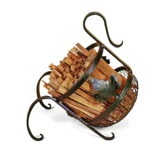 Wrought Iron European Fatwood Caddy 14'' high X 12'' wide X 12'' deep