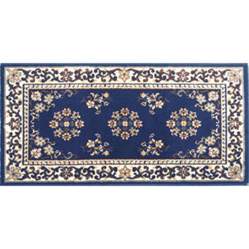 22'' x 44'' Blue Oriental Virgin Wool Hearth Rug