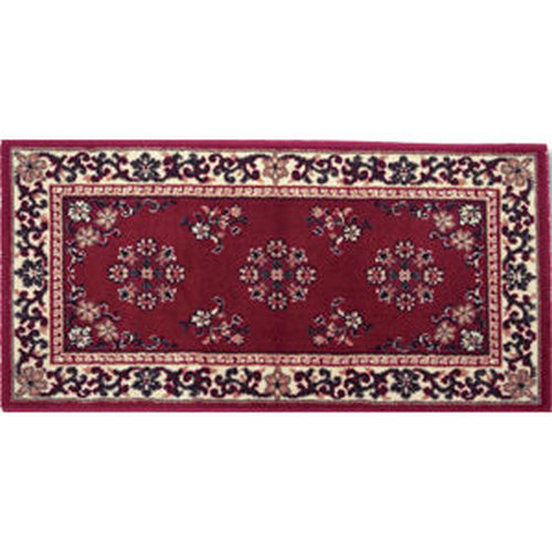 25'' x 56'' Burgundy Oriental Virgin Wool Hearth Rug