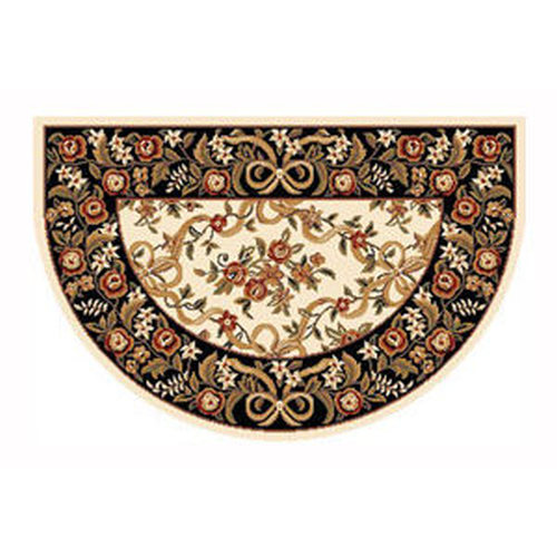 46'' x 31'' Ivory & Black Floral Hearth Rug