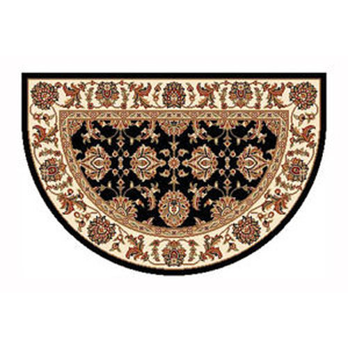 46'' x 31'' Black & Ivory Kashan Hearth Rug