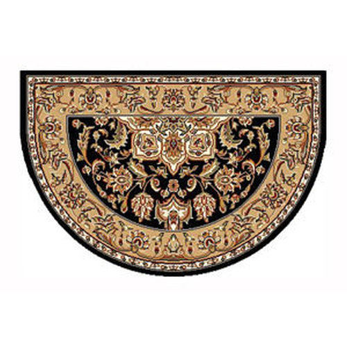46'' x 31'' Black & Beige Kashan Hearth Rug