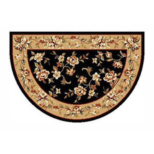 46'' x 31'' Black & Beige Floral Kashan Hearth Rug