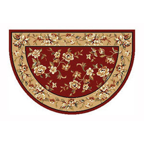 46'' x 31'' Red & Biege Floral Hearth Rug