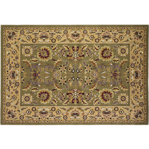 39'' x 59'' Green & Taupe Kashan Hearth Rug