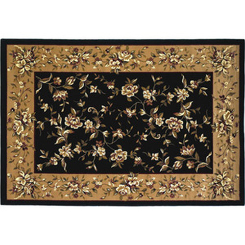 39'' x 59'' Black & Beige Floral Kashan Hearth Rug