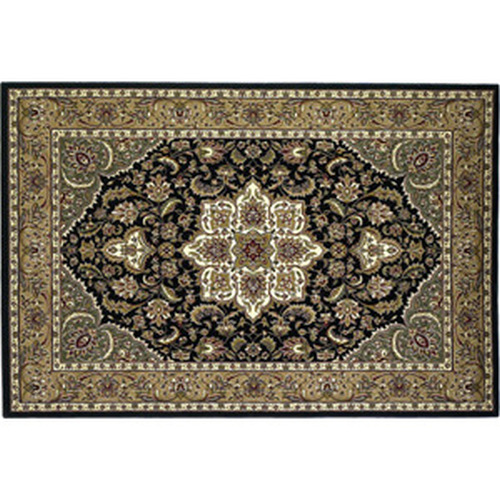 39'' x 59'' Black & Beige Kashan Hearth Rug