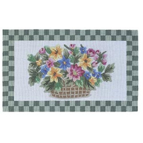 Green Flower Basket Wool Hearth Rug