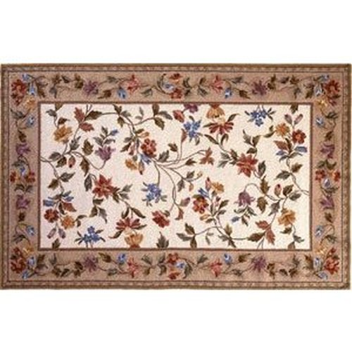 30'' x 50'' Petit Point Wool Hearth Rug Ivory Floral Vine