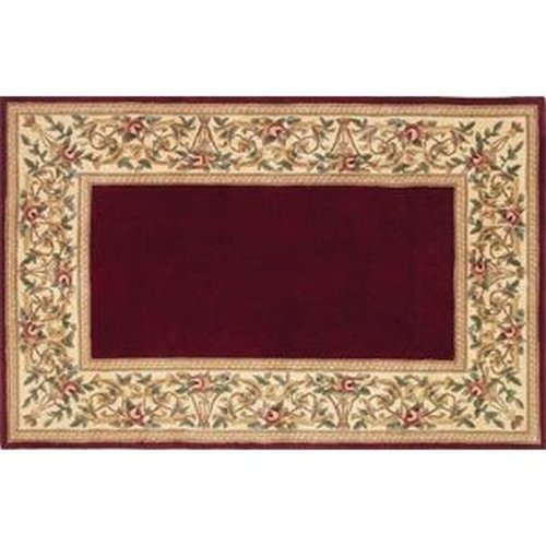 30'' x 50'' Ruby Series Wool Hearth Rug Ruby With Floral Border
