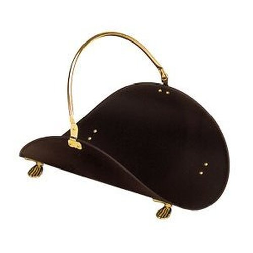 Log Basket Black with Brass Plated Trim