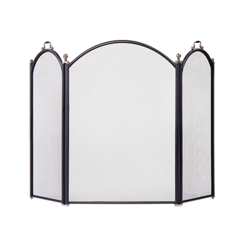 3 Fold Black Pewter Screen 33 1/2'' H x 25 1/2'' W - 13'' W Side Panels