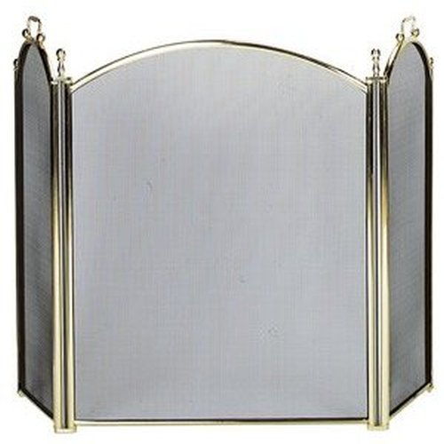 "Plated Brass Large Diameter Frame 3-Fold Screen 34"" H x 54"" W"