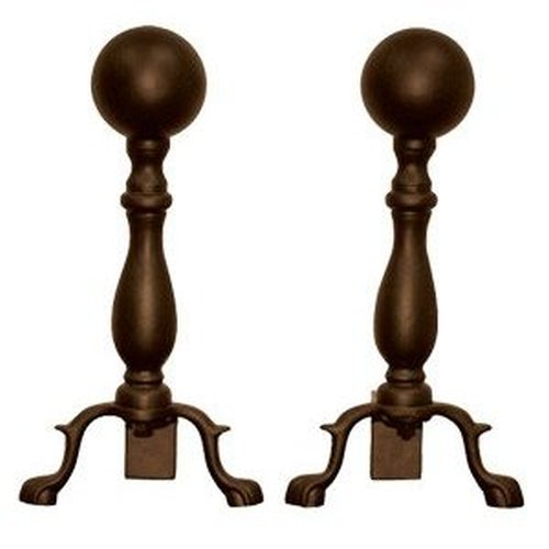 Bronze Finish Ball Style Andirons 17