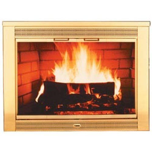 Regal Polished Brass Plated Fireplace Glass Door - Size 02
