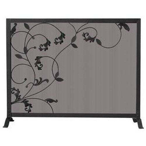 3 Fold Black Screen Flowing Leaf Design 31'' H x 39'' W