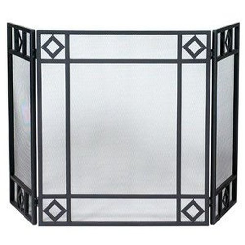 "Diamond Design Black 3-fold Screen 30"" H x 26"" W with 13"" Side Panels"
