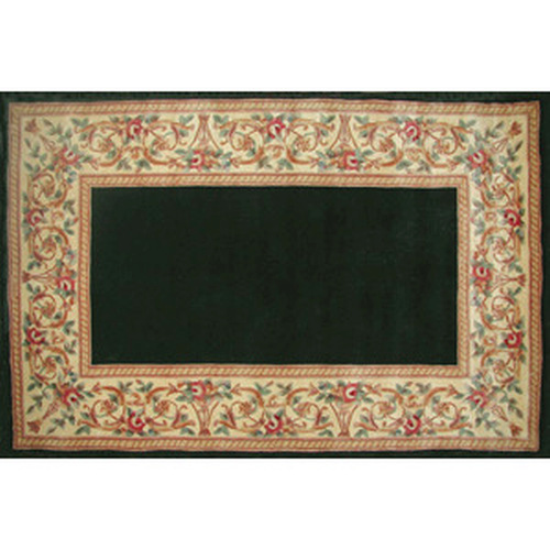 30'' x 50'' Ruby Series Wool Hearth Rug Black With Floral Border