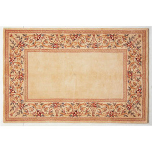 30'' x 50'' Ruby Series Wool Hearth Rug Ivory With Ivory Floral Border