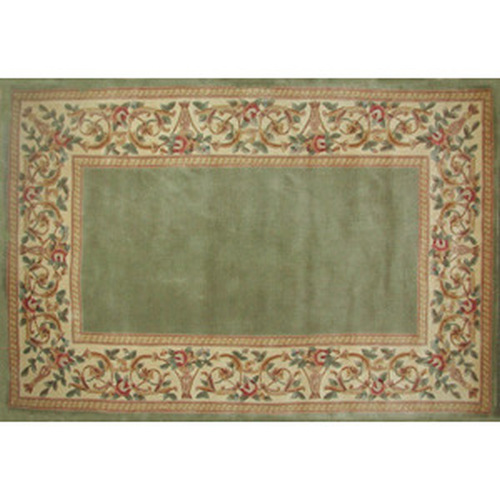 30'' x 50'' Ruby Series Wool Hearth Rug Sage With Floral Border