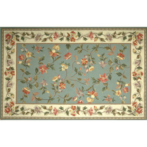 30'' x 50'' Petit Point Wool Hearth Rug Slate Blue Ivory Floral
