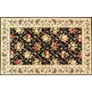 30'' x 50'' Petit Point Wool Hearth Rug Black & Ivory Summer Fruits