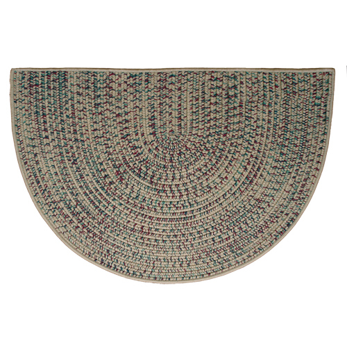 Taupe 46'' x 31'' Half Round Tweed Braided Rug