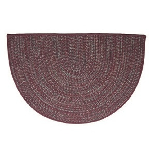 Burgundy 46'' x 31'' Half Round Tweed Braided Rug