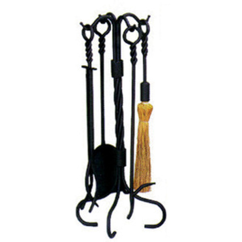 5 Piece Black Wrought Iron Ring/Swirl Toolset 31''Tall