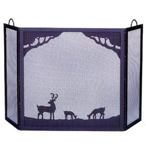 Black Wrought Iron Screen With Deer In Forest Scene 54.5'''W x 30'''H