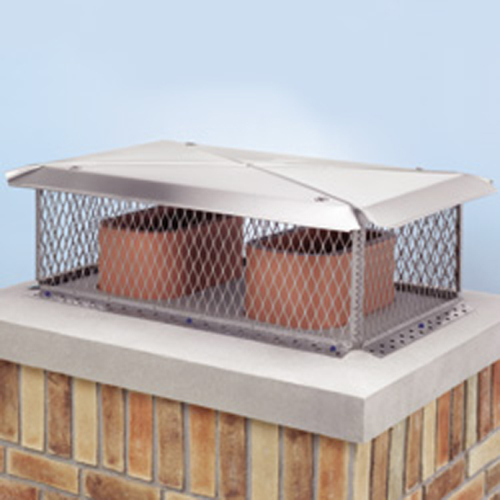 Gelco Stainless Model ''D'' Chimney Protector Cap Multi-Flue Chimney Protector 17'' x 41'' Screen 12'' Height
