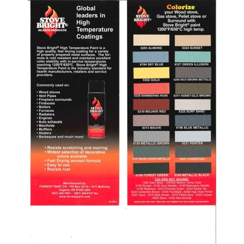 Stove Bright High Temp Color Chart (12 pack)