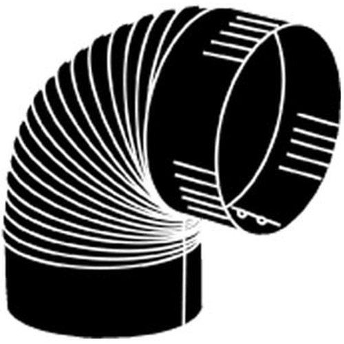 8'' 24 Gauge Black Corrugated 90 Degree Elbow