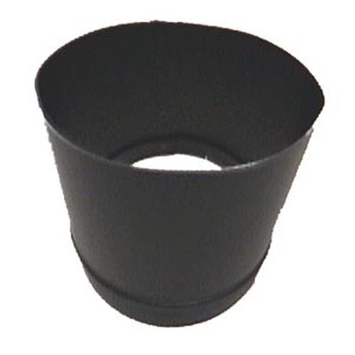 8'' 24 Gauge Black Oval to Round Adapter - Oval Approximately 5 3/4'' x 9 7/8''