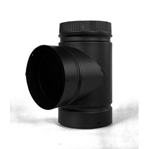 6'' Model DSP Double-Wall Black Stove Pipe Tee with Cap