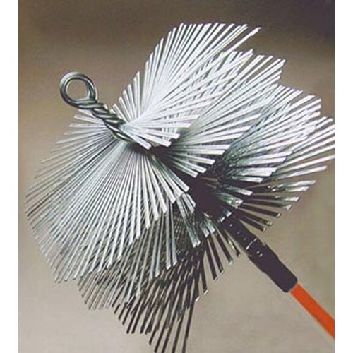 6'' Round Heavy Duty Flat Wire Brush - 3/8'' thread