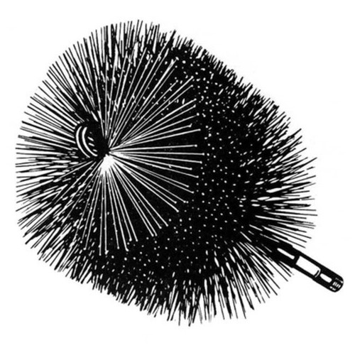 8'' Round Heavy Duty Brush - 3/8'' thread
