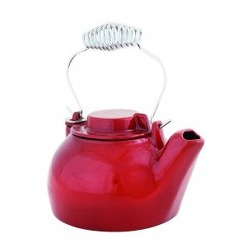 2 1/2 Qt. Cast Iron Humidifying Kettle - Red Enamel