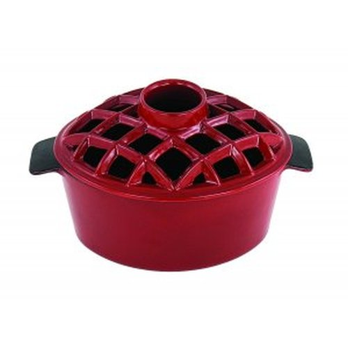 2.2 Qt. Lattice Steamer Red Enamel
