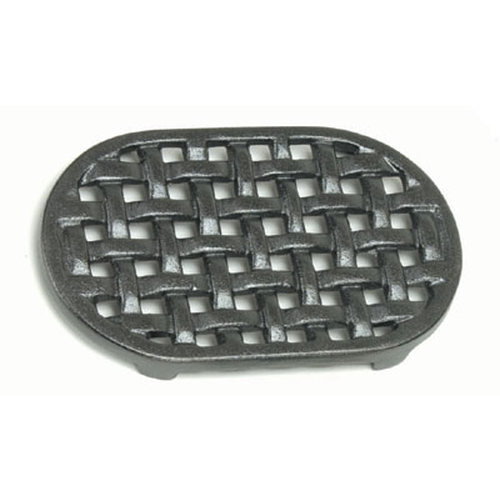 5-3/4'' x 9-1/4'' Oval Cast Iron Matte Black Trivet